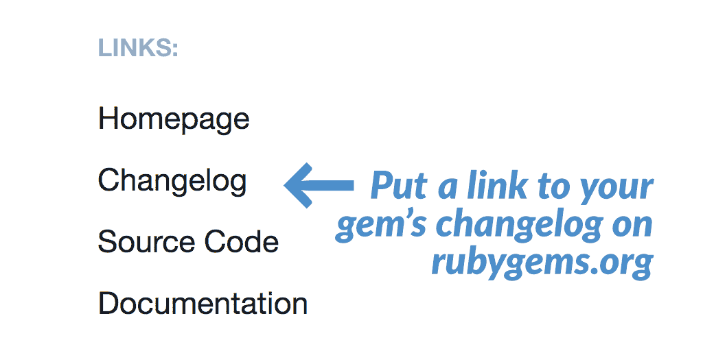 RubyGems.org screenshot showing the new changelog link in action