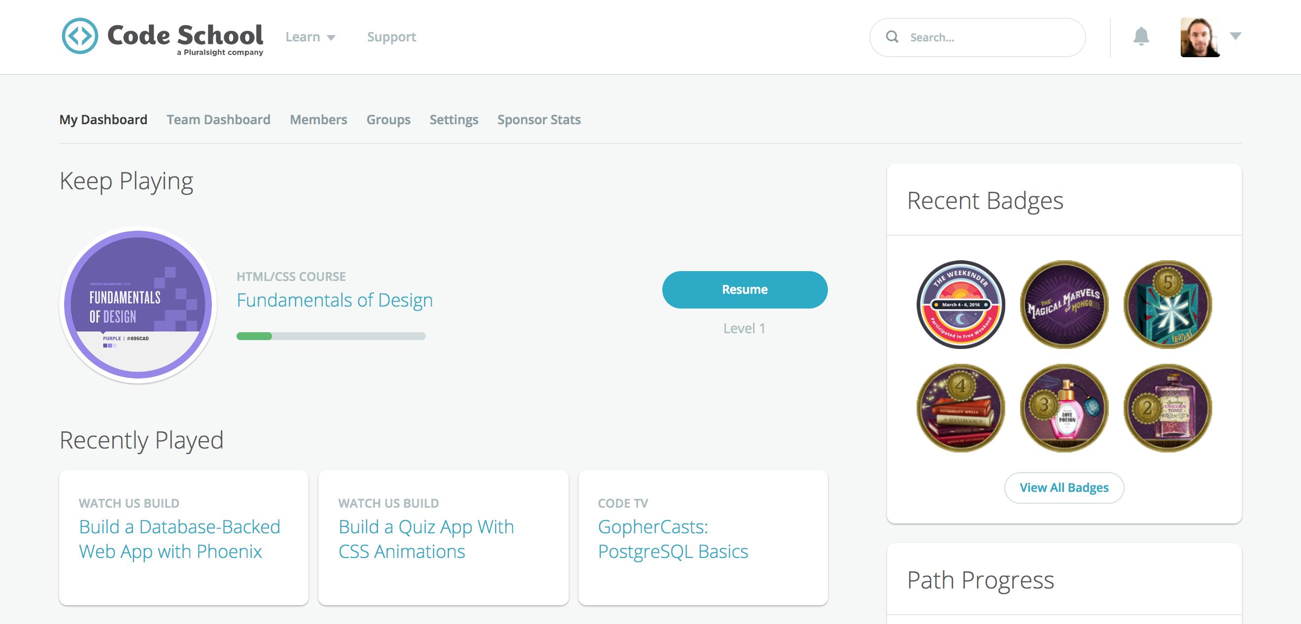 Screenshot of the Code School account dashboard