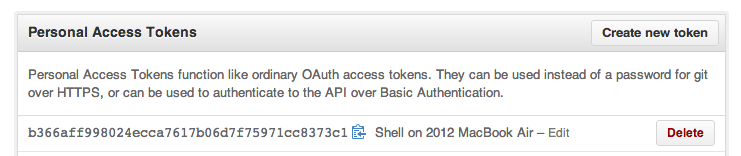 Screenshot of GitHub's Personal Access Tokens interface