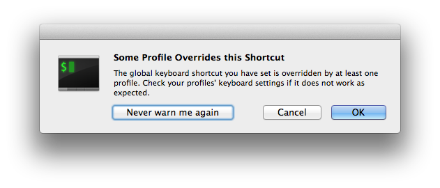 iTerm Global Shortcut Warning Prompt