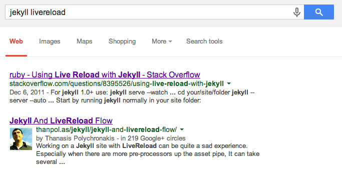 "Screenshot of my ""jekyll livereload"" google search"