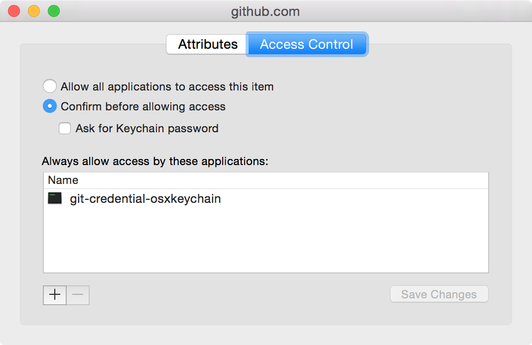 Screenshot of the Keychain app entry info access control tab for github.com
