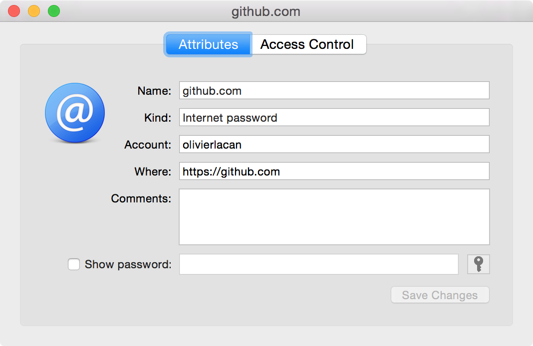 Screenshot of the Keychain app entry info for github.com