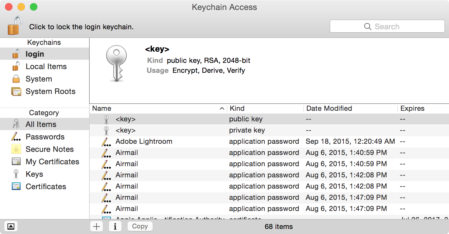 Screenshot of the Keychain app showing a github.com entry