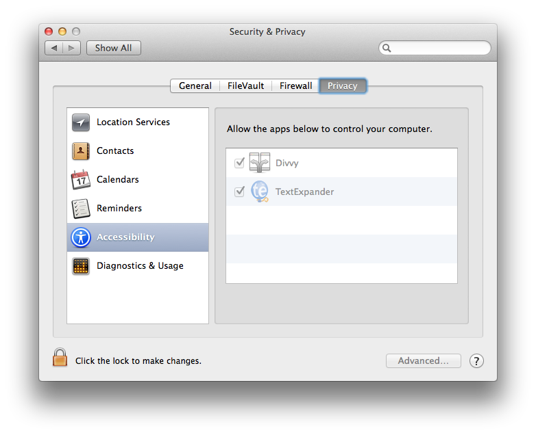 Screenshot of OS X System Preferences Privacy & Security screen