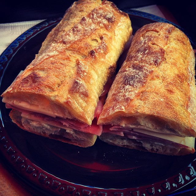 A delicious baguette sandwich at Benjamin's