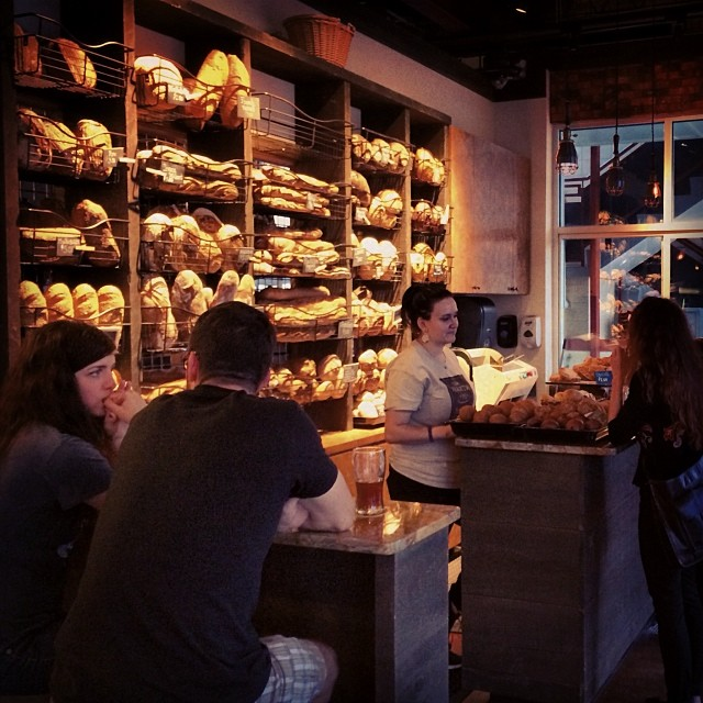 The huge and varied wall of bread at Old Hearth