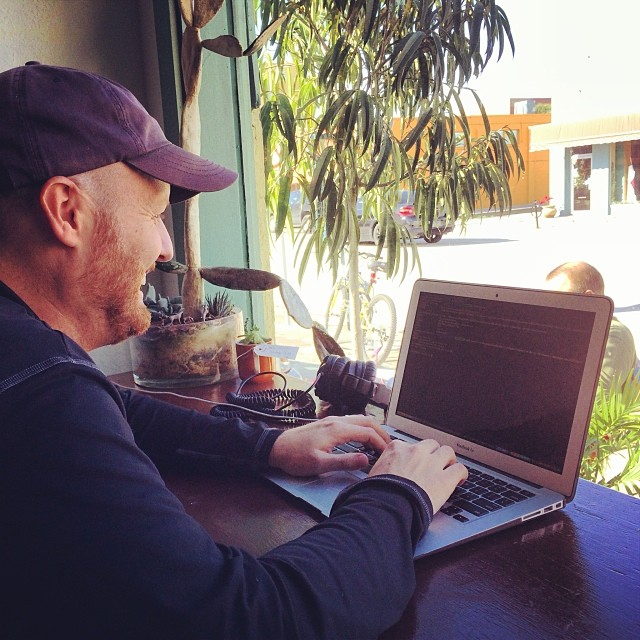 Co-working by the window with Tony