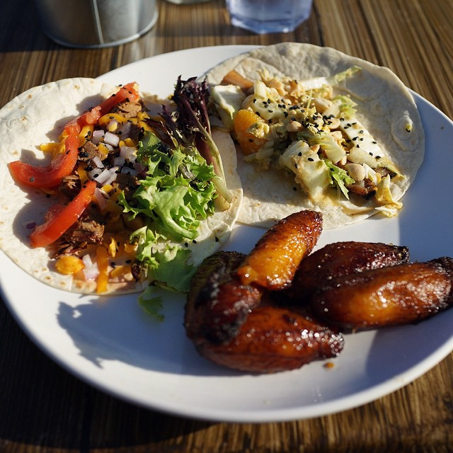Chicken Al Pastor & Butter Chicken Tacos with a side of sweet plantain