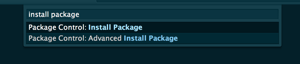 Screenshot of how to open the Install Package mode