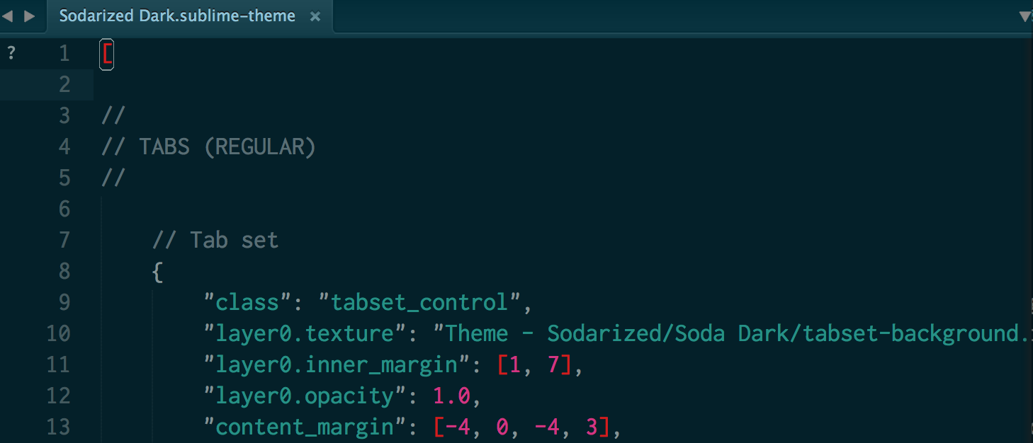 Screenshot of an open .sublime-theme file