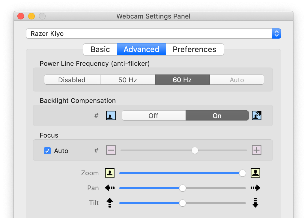 Screenshot of the interace of the macOS app Webcam Settings which showing its Advanced Settings where the digital zoom level of an external webcam can be changed.